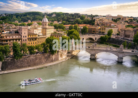 Rome city and tiber river near Vatican, Italy Europe - Stock Photo