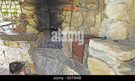 Old kitchen on firewoods - Stock Photo