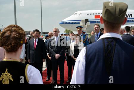 Belgrade, Serbia. 17th June, 2016. Chinese President Xi Jinping's plane landed at Belgrade's Nikola Tesla International - Stock Photo