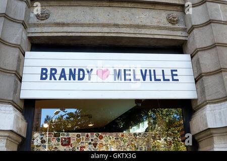 Brandy Melville shop logo on Passeig de Gracia, Barcelnoa, Catalonai, Spain - Stock Photo