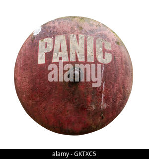 Rustic Vintage Red Alarm Bell With The Word Panic In White - Stock Photo