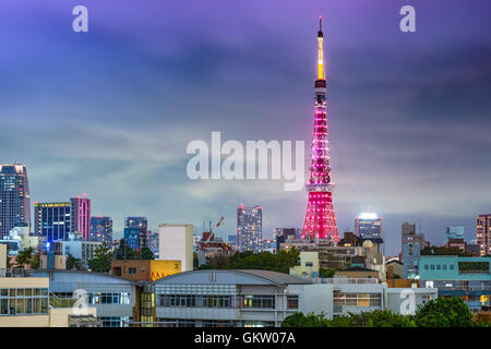 Tokyo, Japan skyline with Tokyo Tower during special lighting. - Stock Photo