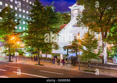 Sapporo, Japan cityscape at the Clock Tower. - Stock Photo