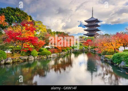 Kyoto, Japan at Toji Pagoda in Autumn. - Stock Photo