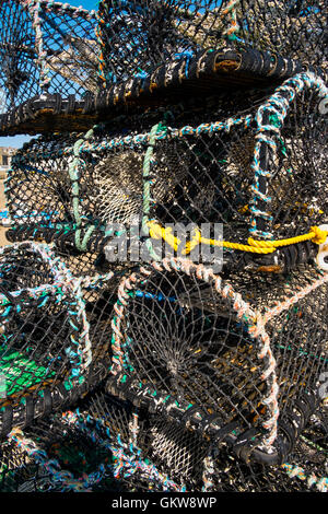 Lobster pots on harbour side number 3593 - Stock Photo