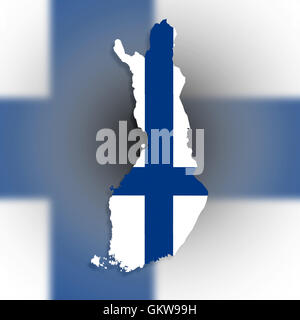 Map of Finland filled with flag - Stock Photo