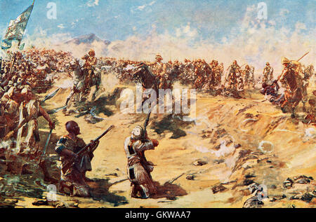 The charge of the 21st Lancers at the Battle of Omdurman, Khartoum, Sudan, 2 September 1898, during the Mahdist - Stock Photo