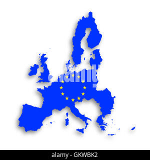 Illustration of a map of European union and EU flag - Stock Photo