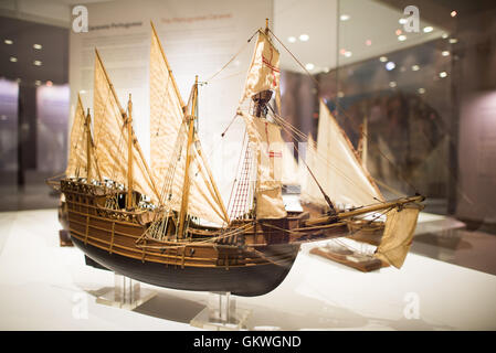 [Lisbon Portugal] A model of a Square-Rgged Caravel from the early 16th century. The Museu de Marinha (Maritime - Stock Photo
