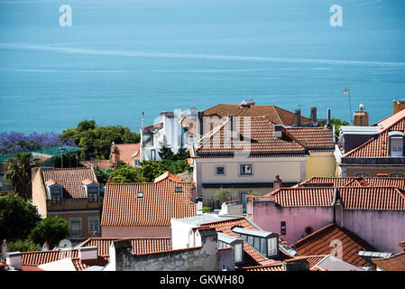 LISBON, Portugal - Sitting high on a hill overlooking the center of Lisbon, São Jorge Castle (or Castelo de São - Stock Photo