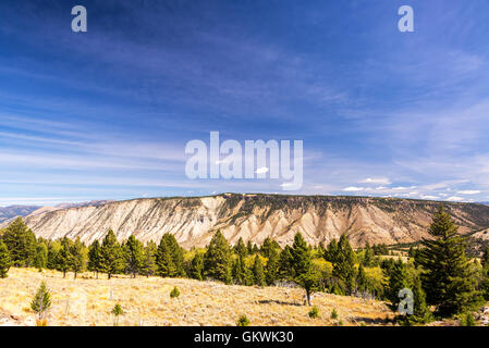 Beautiful landscape near Mammoth Hot Springs in Yellowstone National Park - Stock Photo