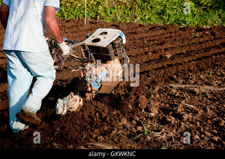 farmer who works the land with the tiller,worker - Stock Photo