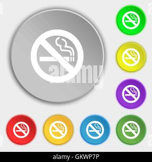 no smoking icon sign. Symbol on five flat buttons. Vector - Stock Photo