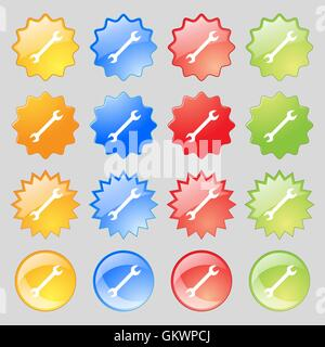 wrench icon sign. Big set of 16 colorful modern buttons for your design. Vector - Stock Photo