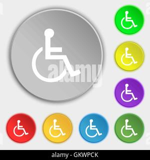 disabled icon sign. Symbol on five flat buttons. Vector - Stock Photo
