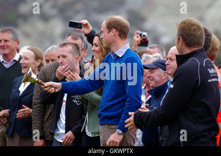 Duke and Duchess of Cambridge at start of Anglesey Ultra Marathon, - Stock Photo