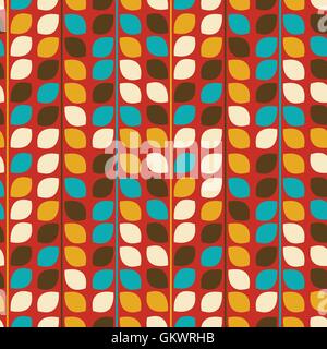Vector flower pattern seamless on red background - Stock Photo