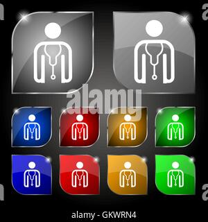 doctor icon sign. Set of ten colorful buttons with glare. Vector - Stock Photo