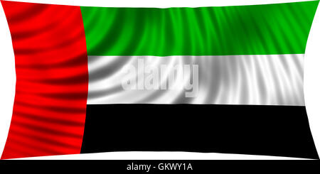 Flag of the United Arab Emirates waving in wind isolated on white background. UAE national flag. Patriotic symbolic - Stock Photo