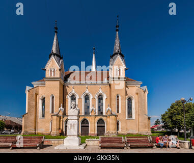Hungarian Reformed Church, bust of Dr Ioan Mihalyi in Sighetu Marmatiei, Maramures Region, Romania - Stock Photo