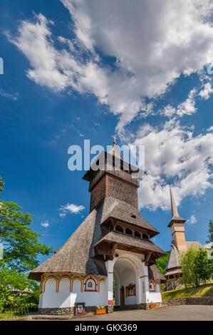 Tower at entrance to Monastery in Barsana, Maramures Region, Romania - Stock Photo