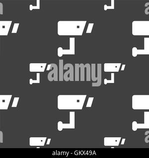 Surveillance Camera icon sign. Seamless pattern on a gray background. Vector - Stock Photo