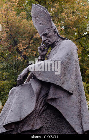 Statue of Stefan Wysynski who was the archbishop of Warsaw and archbishop of Gniezno from 1948 to 1981 outside the - Stock Photo