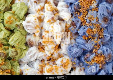 Thai Traditional Dessert, Tapioca balls with pork filling serve with vegetable, Steamed Rice Skin Dumplings Made - Stock Photo