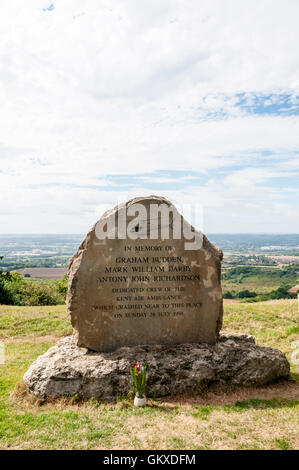 Kent Air Ambulance 1998 helicopter crash memorial at Blue bell Hill on the North Downs, Kent. - Stock Photo