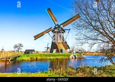 traditional Holland countryside - windmills of Kinderdijk - Stock Photo