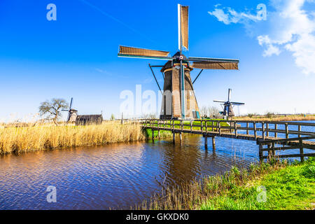 famous windmills of Netherlands in Kinderdjik - Stock Photo