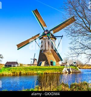 traditional holland countryside - windmills of Kinderdijk - Stock Photo