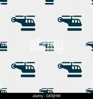 helicopter icon sign. Seamless pattern with geometric texture. Vector - Stock Photo