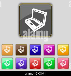 Laptop icon sign. Set with eleven colored buttons for your site. Vector - Stock Photo