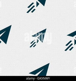 Paper airplane icon sign. Seamless pattern with geometric texture. Vector - Stock Photo