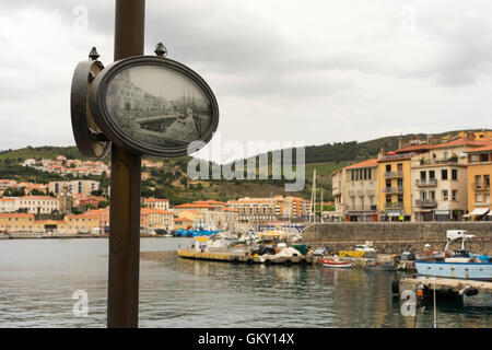 Port-Vendres in the Pyrenees-Orientales, France with old photograph os scene. - Stock Photo