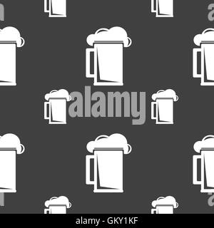 glass of beer icon sign. Seamless pattern on a gray background. Vector - Stock Photo