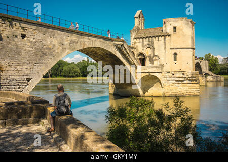 Pont d'Avignon, a famous medieval bridge in the town of Avignon, in southern France. - Stock Photo