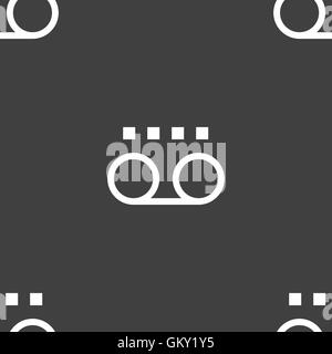 audio cassette icon sign. Seamless pattern on a gray background. Vector - Stock Photo