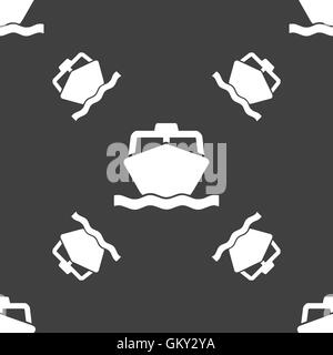 the boat icon sign. Seamless pattern on a gray background. Vector - Stock Photo
