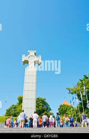 Vabaduse valjak, Freedom square, with War of Independence Victory Column, Tallinn, Estonia, Europe - Stock Photo