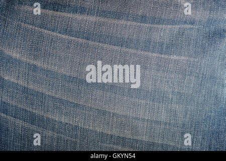 detail and texture of blue jeans background or backdrop - Stock Photo