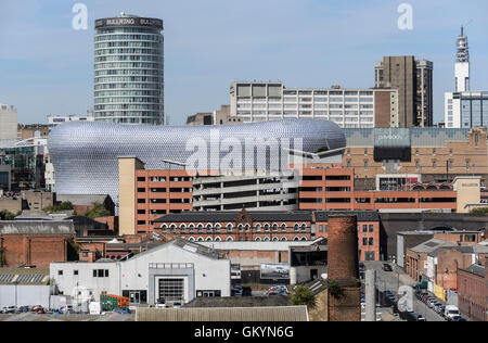 View towards Birmingham City centre (including the Bullring, the Rotunda) and the Telecom Tower) from the Digbeth - Stock Photo