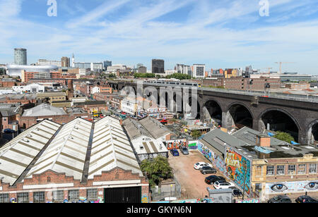 View towards Birmingham City centre (including the Bullring, the Rotunda, Duddeston Viaduct and the Telecom Tower) - Stock Photo