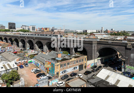 A view from Digbeth towards East Side area of Birmingham, Millennium Point & the railway line(Duddeston Viaduct) - Stock Photo