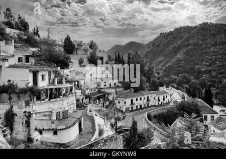 Granada town in Spain, black and white - Stock Photo