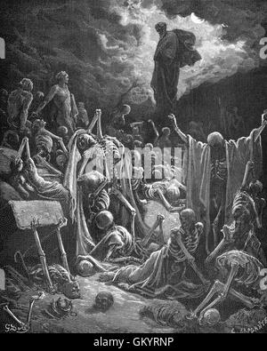 Engraving of The Vision of The Valley of Dry Bones by  Gustave Doré - Stock Photo