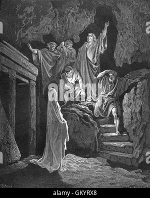 Engraving of The Resurrection of Lazarus by Gustave Doré - Stock Photo