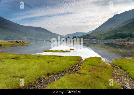 Early morning at Loch Duich in the Highlands on the western coast of Scotland with a carpet of green samphire in - Stock Photo