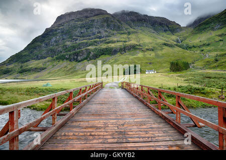 A bridge over the river Coe at Glencoe in the Scottish Highlands - Stock Photo